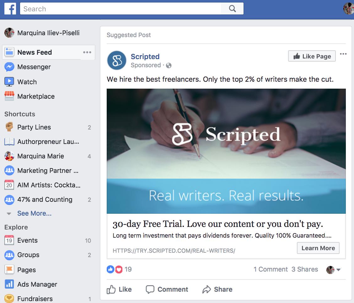 Facebook Sponsored Post for Scripted