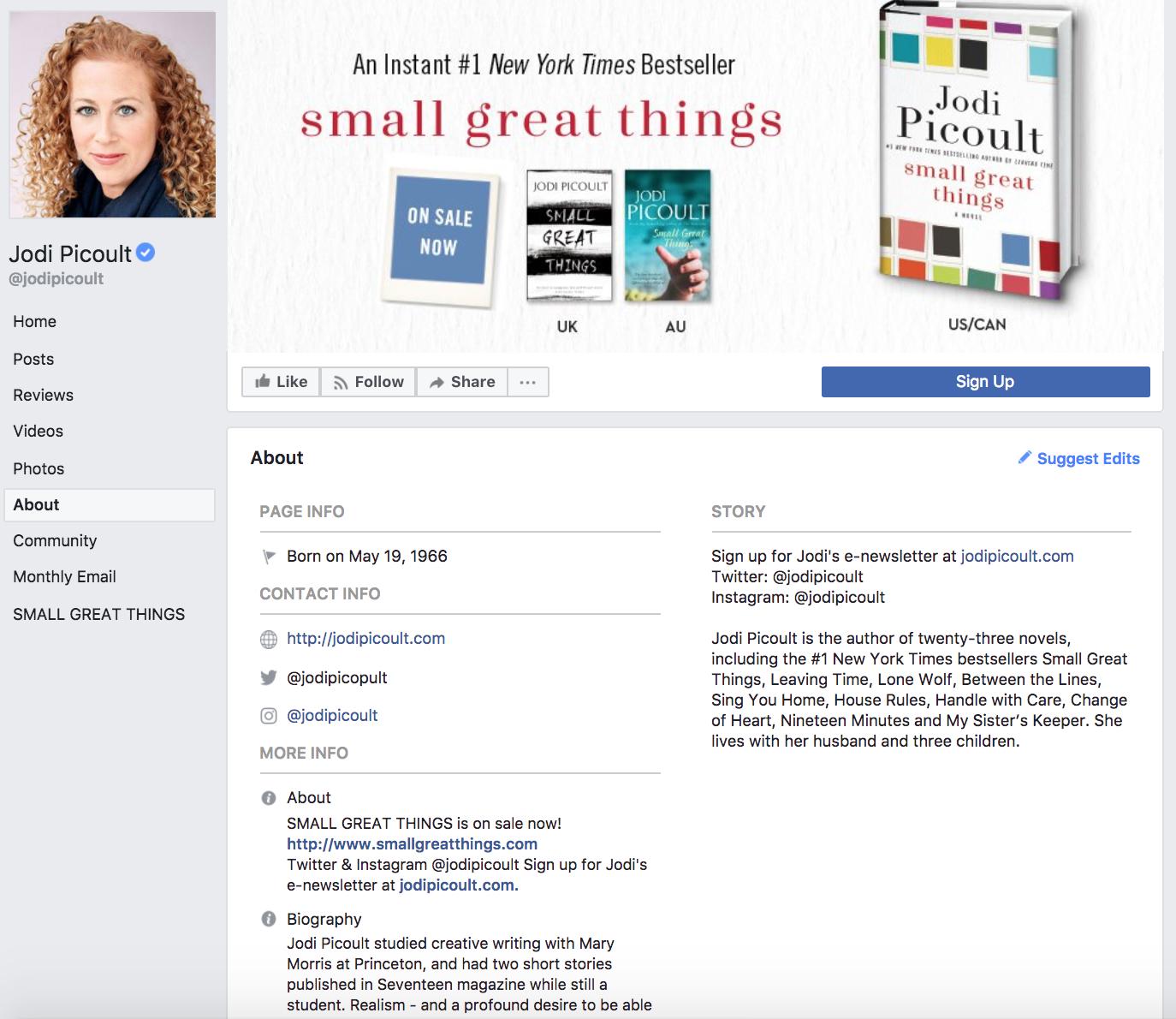 Author Jodi Picoult Facebook About Page