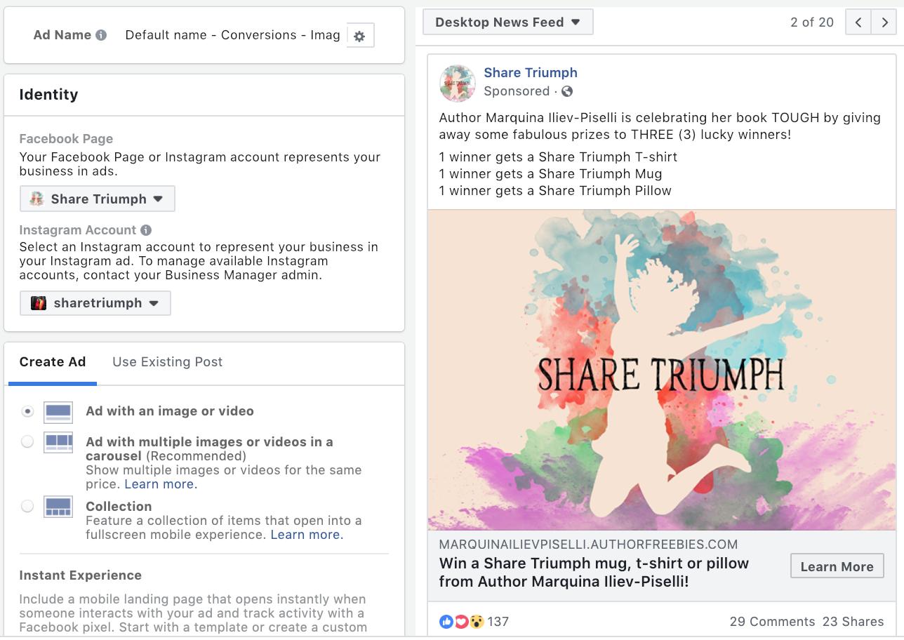 Share Triumph Facebook Ad